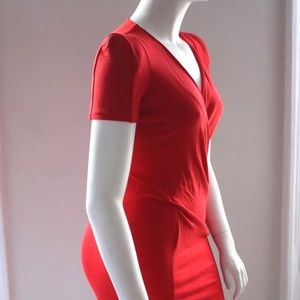 French Connection Dresses - French Connection NEW red V neck pencil dress